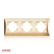 Πλαίσιο 3 (τριών) θέσεων οριζόντιο χρυσό ματ χρώμα σειρά lineme
