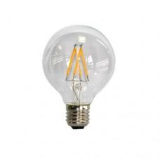 Λάμπα led filament 4W γλόμπος (globe) edison ψυχρό λευκό φως 6000Κ Φ95 (G95) διάφανο γυαλί Ε27 ευρείας δέσμης 360° 500 lumen 230V