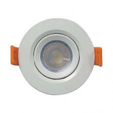 Φωτιστικό led panel 3W (3 WATT) σπότ (spot) ενδιάμεσο λευκό φως 4000Κ χωνευτό στρογγυλό λευκό στεφάνι Φ7,5cm (εγκοπής 5,5cm) πλαστικό 255lumens 60°