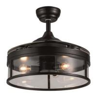 Ανεμιστήρας οροφής πολυτελείας σκούρο καφέ 60W vintage Φ107cm ύψος 36cm εώς 43cm με 3 φώτα Ε14 4 ανοιγοκλειόμενες φτερωτές και κοντρόλ (τηλεχειριστήριο)