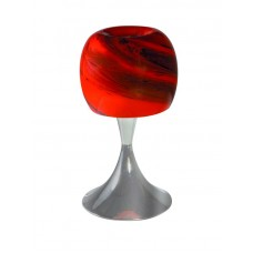 Φωτιστικό κομοδίνου επιτραπέζιο δαπέδου Ε27 χρώματος ασημί (χρώμιο) με κόκκινο γυαλί μεταλλικό 38cm x 20cm