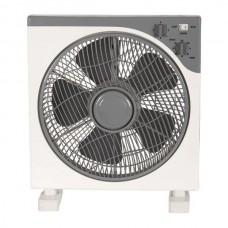 Ανεμιστήρας δαπέδου τετράγωνος 45W Φ30cm box fan περιστρεφόμενος 5 φτερωτές και 3 ταχύτητες άσπρο γκρι