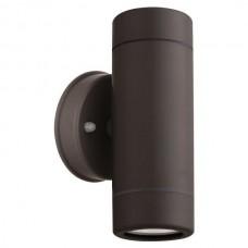 Φωτιστικό σποτ απλίκα τοίχου up down (πάνω κάτω) διπλής δέσμης πλαστικό GU10 220V χρώματος μαύρο στεγανό αδιάβροχο IP65 Φ6cm x 15,8cm για λάμπες led