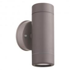 Φωτιστικό σποτ απλίκα τοίχου up down (πάνω κάτω) διπλής δέσμης πλαστικό GU10 220V χρώματος γκρι στεγανό αδιάβροχο IP65 Φ6cm x 15,8cm για λάμπες led