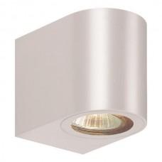 Φωτιστικό σποτ απλίκα τοίχου οβάλ down πλαστικό GU10 220V χρώματος λευκό στεγανό αδιάβροχο IP54 εξωτερικού χώρου 8cm x 7cm x 9,5cm για λάμπες led
