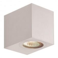 Φωτιστικό σποτ απλίκα τοίχου τετράγωνο down πλαστικό GU10 220V χρώματος λευκό στεγανό αδιάβροχο IP54 εξωτερικού χώρου 8cm x 7cm x 9,5cm για λάμπες led