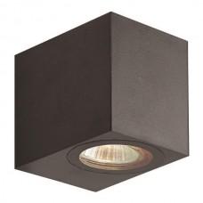 Φωτιστικό σποτ απλίκα τοίχου τετράγωνο down πλαστικό GU10 220V χρώματος μαύρο στεγανό αδιάβροχο IP54 εξωτερικού χώρου 8cm x 7cm x 9,5cm για λάμπες led