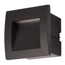 Led φωτιστικό διαδρόμου μαύρο χωνευτό 3W τετράγωνο 9cmx9cm (εγκοπής 7cmx7xm) αλουμινίου απλίκα τοίχου θερμό φώς 3000Κ στεγανό IP54 135lumens
