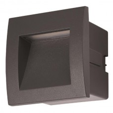 Φωτιστικό διαδρόμου χωνευτό led γραφίτης 3W τετράγωνο 9cmx9cm (εγκοπής 7cmx7xm) αλουμινίου απλίκα τοίχου θερμό φώς 3000Κ στεγανό IP54 135lumens
