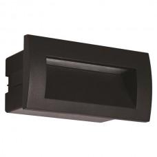 Φωτιστικό led διαδρόμου μαύρο χωνευτό 3W ορθογώνιο 14cmx7cm (εγκοπής 11,5cmx6xm) αλουμινίου απλίκα τοίχου θερμό φώς 3000Κ στεγανό IP54 135lumens