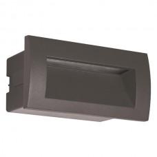 Φωτιστικό led διαδρόμου γραφίτης χωνευτό 3W ορθογώνιο 14cmx7cm (εγκοπής 11,5cmx6xm) αλουμινίου απλίκα τοίχου θερμό φώς 3000Κ στεγανό IP54 135lumens