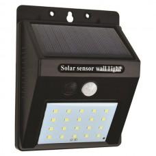 Φωτιστικό led 0,55W τοίχου ηλιακό με φωτοβολταικό πάνελ (panel) ανιχνευτή κίνησης και φωτοκύτταρο μέρας νύχτας 6500Κ ψυχρό φως στεγανό IP65 80lumens
