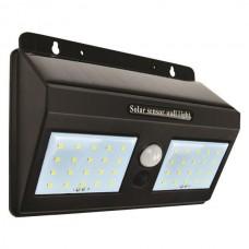 Φωτιστικό led 1,20W τοίχου ηλιακό με φωτοβολταικό πάνελ (panel) ανιχνευτή κίνησης και φωτοκύτταρο μέρας νύχτας 6500Κ ψυχρό φως στεγανό IP65 120lumens
