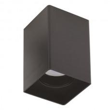 Φωτιστικό σποτ οροφής εξωτερικό (επίτοιχο) GU10 220V τετράγωνο πλαστικό χρώματος μαύρο 8cm x 8cm x 12,5cm μη στεγανό IP20 για λάμπες led
