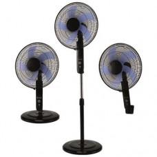 Ανεμιστήρας 3 σε 1 (δαπέδου τοίχου επιτραπέζιος) με κοντρόλ (τηλεχειριστήριο) Φ40cm 50W 3 ταχύτητες 5 φτερωτές και χρονοδιακόπτη χρώματος μαύρος