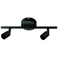 Φωτιστικό σπότ (spot) μπάρα (ράγα) αλουμινίου οροφής δίφωτo 2 x GU10 χρώματος μαύρο σειρά Irma