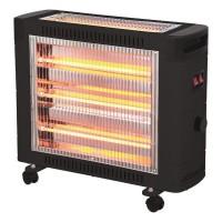 Θερμάστρα χαλαζία με θερμοστάτη 2800W ροδάκια και διακόπτη ασφαλείας 2 face χρώμα μαύρο κάλυψη χώρου έως 30m²
