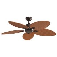 Ανεμιστήρας οροφής 60W πολυτελείας χρώμα καφέ ξύλου διάμετρος Φ132cm ύψος 45cm ρατάν πλέξη 5 φτερωτές και κοντρόλ (τηλεχειριστήριο)