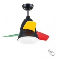 Ανεμιστήρας οροφής 70W παιδικός πολύχρωμος χρώματος μαύρο πράσινο κίτρινο κόκκινο Φ90cm led φως 24W 3 φτερωτές και κοντρόλ (τηλεχειριστήριο)