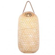 Φωτιστικό ηλιακό led 1 x 0,06W χρώματος φυσικό μπαμπού (bamboo) με φωτοβολταικό πάνελ (panel) θερμό λευκό φώς 2700Κ κρεμαστό 41,5cm x 22,5cm