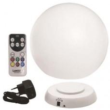 Φωτιστικό μπάλα Φ30cm μπαταρίας επαναφορτιζόμενη led 5W RGB (πολύχρωμο) δαπέδου λευκή με κοντρόλ εξωτερικού χώρου στεγανή IP67