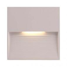 Led φωτιστικό διαδρόμου 3W slim επίτοιχο πλαστικό απλίκα τοίχου θερμό φώς 3000Κ χρώμα λευκό στεγανό με σκίαστρο IP65 τετράγωνο 12cm x 12cm x 1,2cm
