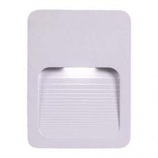 Φωτιστικό διαδρόμου led 2W slim επίτοιχο πλαστικό απλίκα τοίχου θερμό φώς 3000Κ χρώμα λευκό στεγανό με σκίαστρο IP65 ορθογώνιο 12cm x 9cm x 1,2cm