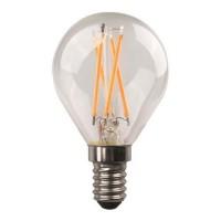 Λάμπα led σφαιρική (μπαλάκι) E14 4,5W 2700K έντονο θερμό λευκό φως διάφανο γυαλί G45 filament edison crossed 360° 480lumen 220V