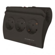 Πολύπριζο 5 θέσεων σούκο δύο (2) θύρες USB μαύρο με διακόπτη βάση στήριγμα για κινητό τηλέφωνο ή tablet 1,5m καλώδιο 3 x 1,5mm και παιδική προστασία