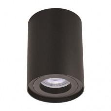 Φωτιστικό οροφής αλουμινίου Φ8cm x 10cm μονόφωτο κυλινδρικό με ντουι GU10 χρώματος μαύρο για λάμπες led