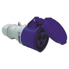 Φις θηλυκό 3x16Α μονοφασικός ρευματοδότης βιομηχανικού τύπου προέκτασης 230V στεγανό IP44 με καπάκι