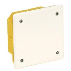 Μπουάτ χωνευτό διακλάδωσης κουτί τετράγωνο 92x92x45mm (9,2x9,2x4,5cm) χρώματος κίτρινο με λευκό καπάκι