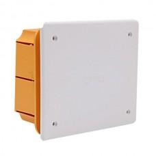 Μπουάτ χωνευτό διακλάδωσης κουτί ορθογώνιο 118x96x50mm (11,8x9,6x5cm) χρώματος κίτρινο με λευκό καπάκι