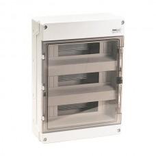 Πίνακας 48 (σαρανταοχτώ) θέσεων 3 σειρών ηλεκτρολογικός εξωτερικός επίτοιχος με πόρτα 355x500x140mm χρώματος γκρι και στεγανότητα IP65