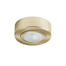 Φωτιστικό σποτ σταθερό εξωτερικό (επίτοιχο) G4 12V επίπλου ξύλου στρογγυλό χρώματος χρυσό ματ με γυαλί αλουμινίου Φ6,8cm