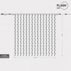 Χριστουγεννιάτικη flash led συμμετρική κουρτίνα 360 τεμαχίων θερμό λευκό με 36 ψυχρά led 200 x 200cm επέκταση και διάφανο καλώδιο στεγανή IP44