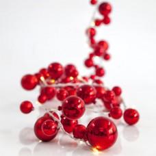 Χριστουγεννιάτικα 20 led λαμπάκια (φωτάκια) θερμό χρώμα γιρλάντα με κόκκινες μπάλες και διάφανο καλώδιο 530cm στεγανά IP44