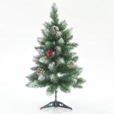 Χριστουγεννιάτικο δέντρο (δεντράκι) ύψος 60cm χιονισμένο τύπου έλατο με berry και κουκουνάρια υλικό pvc διάμετρος 38cm πλαστική βάση 65 κλαδιά