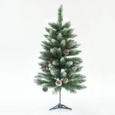 Χριστουγεννιάτικο δέντρο (δεντράκι) ύψος 90cm χιονισμένο τύπου έλατο με berry και κουκουνάρια υλικό pvc διάμετρος 48cm πλαστική βάση 74 κλαδιά