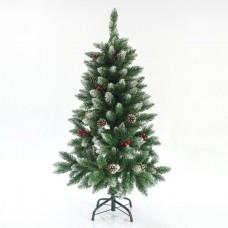 Χριστουγεννιάτικο δέντρο (δεντράκι) ύψος 120cm χιονισμένο τύπου έλατο με berry και κουκουνάρια υλικό pvc διάμετρος 64cm μεταλλική βάση 194 κλαδιά