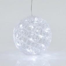 Χριστουγεννιάτικη ακρυλική μπάλα Φ20cm φωτιζόμενη με 30 led ψυχρό λευκό φως κρεμαστή στεγανή αδιάβροχη IP44