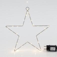 Χριστουγεννιάτικο αστέρι Φ30cm φωτιζόμενο με 45 led θερμό λευκό φως μεταλλικό κρεμαστό διακοσμητικό στεγανό αδιάβροχο IP44