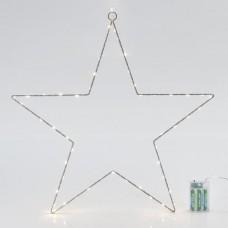 Χριστουγεννιάτικο αστέρι μπαταρίας 3AA Φ50cm φωτιζόμενο με 60 led θερμό φως και χρονοδιακόπτη μεταλλικό κρεμαστό διακοσμητικό μη στεγανό IP20