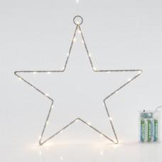 Χριστουγεννιάτικο αστέρι μπαταρίας 3AA Φ30cm φωτιζόμενο με 30 led θερμό φως και χρονοδιακόπτη μεταλλικό κρεμαστό διακοσμητικό μη στεγανό IP20