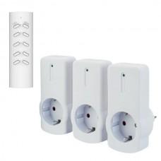 Πρίζα σούκο σετ 3 τεμαχίων με κοντρόλ (τηλεχειριστήριο) εμβέλεια λειτουργίας έως και 30 μέτρα max 2300W 10A και προστασία επαφών