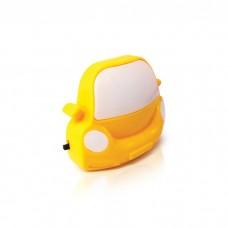 Φωτιστικό νυκτός (φωτάκι) πρίζας με σχέδιο κίτρινο αυτοκίνητο παιδικό led mini 0,5W 3000Κ θερμό λευκό φως και διακόπτη 20lumens