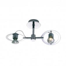 Φωτιστικό σπότ (spot) μπάρα (ράγα) οροφής δίφωτo 2 x GU10 χρώματος νίκελ σειρά RINGO