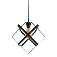 Φωτιστικό μονόφωτο μοντέρνο μεταλλικό κρεμαστό με σχήμα ρόμβος 25cm x 25cm x 70cm χρώματος μαύρο και ντουί E27 για λάμπες led