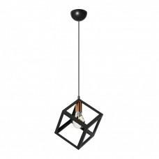 Φωτιστικό μονόφωτο τετράγωνο κρεμαστό μοντέρνο μεταλλικό χρώματος μαύρο 16cmx16cmx70cm ντουί Ε27 για λάμπες Led Edison