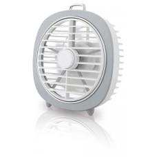 Ανεμιστήρας μικρός επιτραπέζιος επαναφορτιζόμενος φωτιζόμενος με led θύρα USB DC 5V 4W διάμετρο 12,5cm ύψος 13,5cm 5 φτερωτές και 3 ταχύτητες